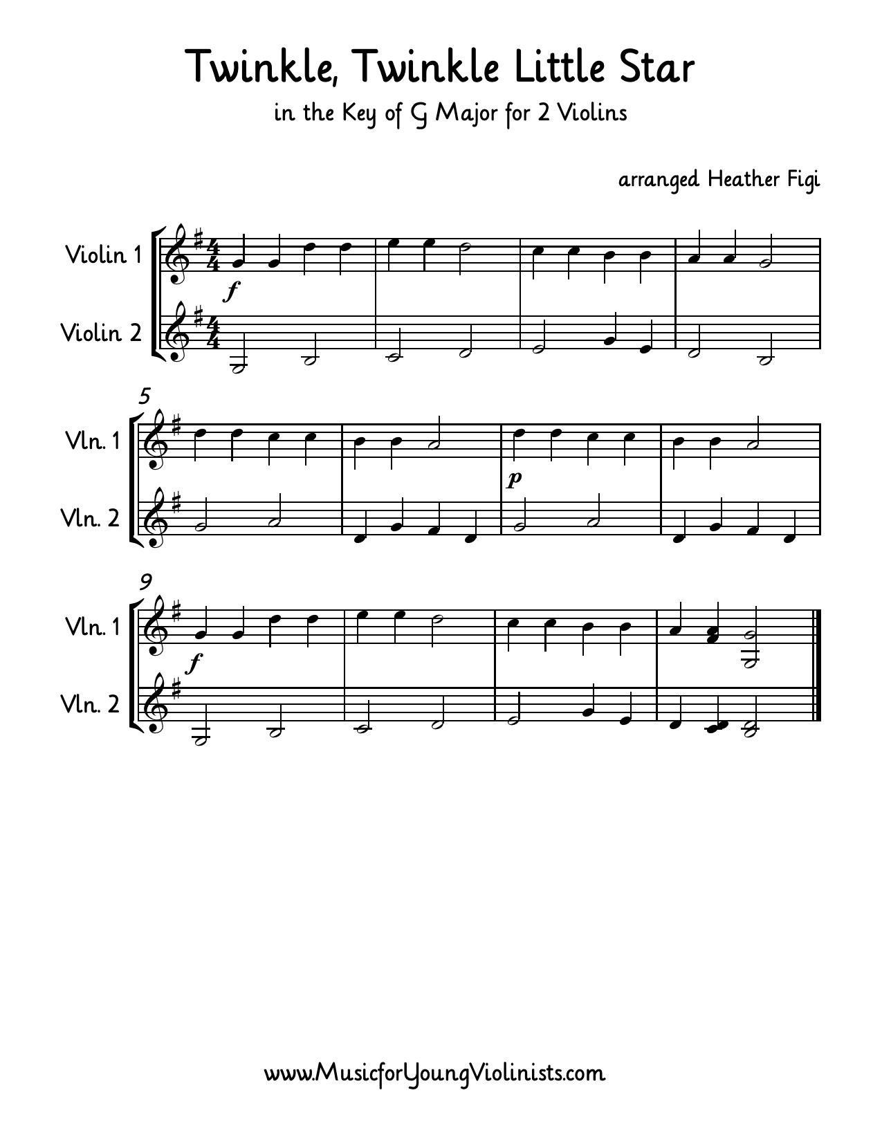Twinkle Twinkle Little Star In G Major For 2 Violins Arranged By