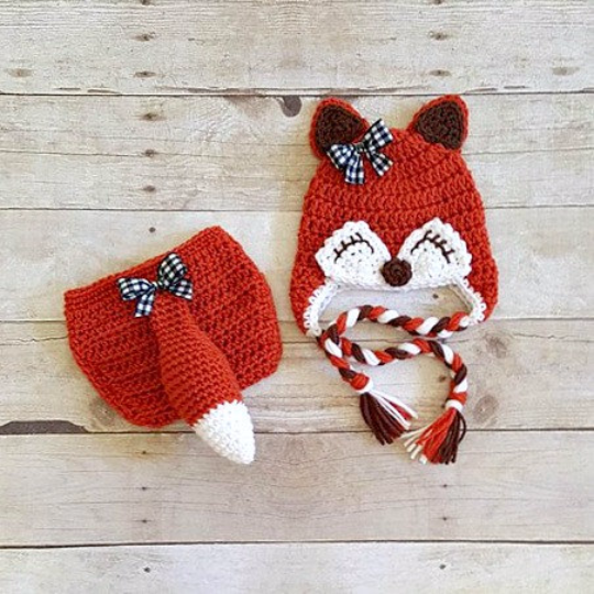 206f560426c Crochet Baby Girl Fox Hat Beanie Diaper Cover Bow Newborn Infant  Photography Photo Prop Animal Set Costume Handmade Baby Shower Gift - Red  Lollipop Boutique