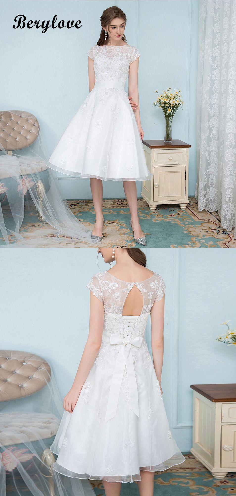 White short lace tulle knee length prom dressesshortweddingdresses