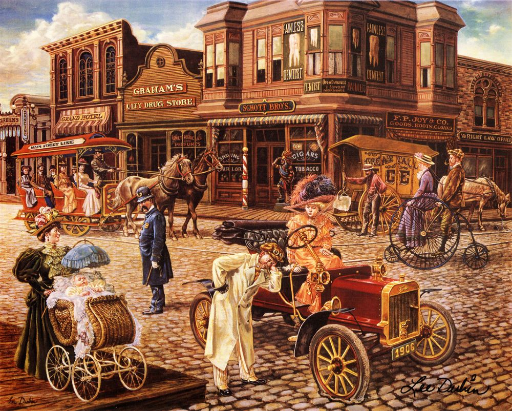 Victorian Barber Tonsorial Dentist Drug Pharmacy Cigar Hotel Trolley Art SIGNED