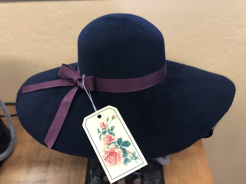 afc077453d78fb Navy Wide Brim Fur Felt Hat   The Hattery   Hats, Felt hat, Fur