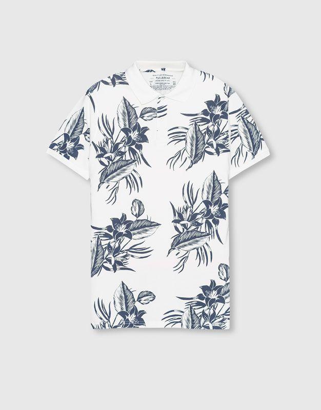 aa297351 Pull&Bear - hombre - camisetas - polo estampado flores - blanco -  09202505-I2016