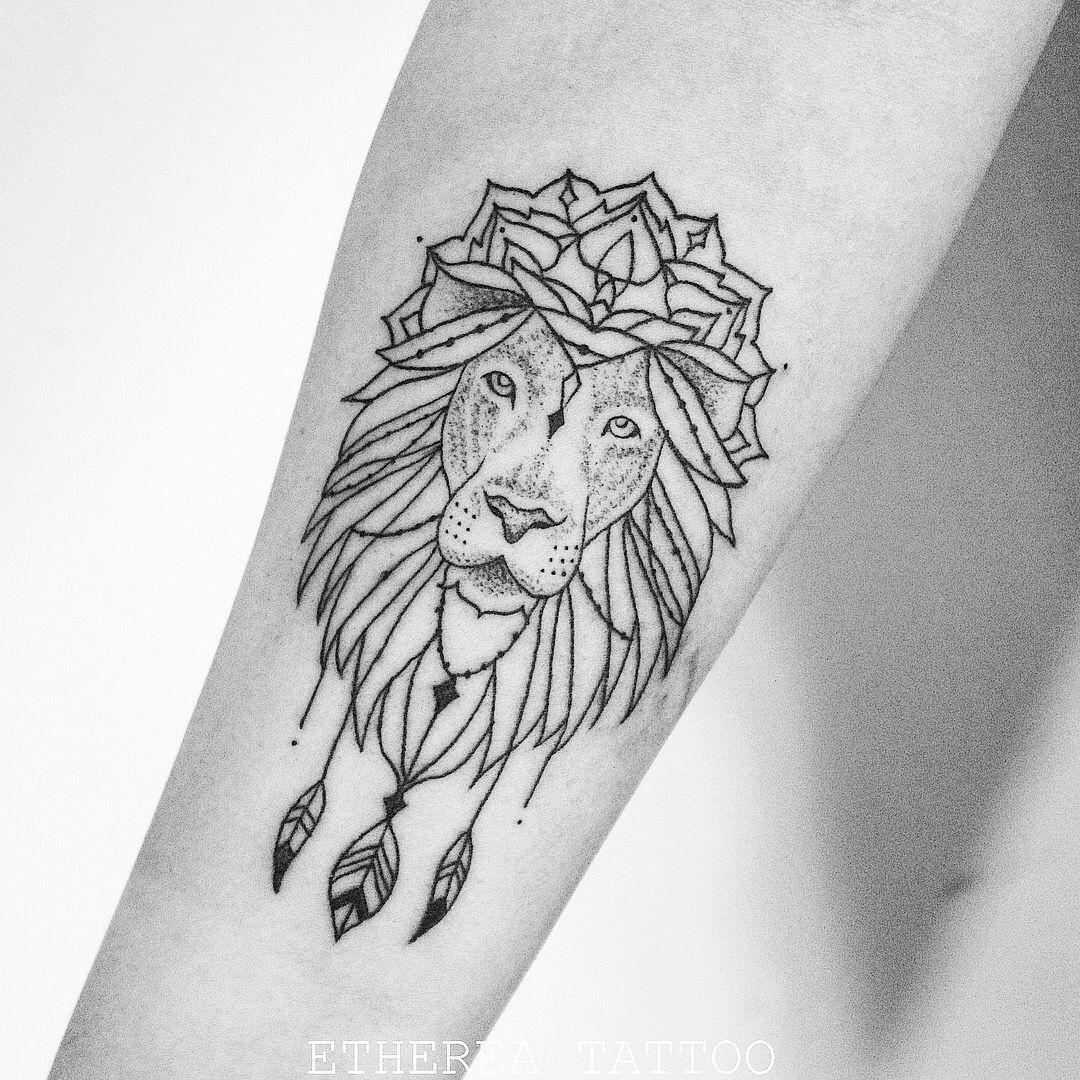 Delicate lion mandala tattoo leone mandala delicato tatuaggio leone Done by  Etherea tattoo geometric geometrico