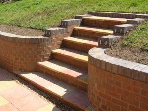Brick Block and Sleeper Retaining Walls garden