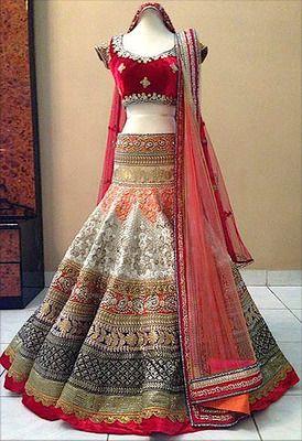 5495a9ae89 Off white embroidred brocade wedding lehenga with blouse   KAPADA ...