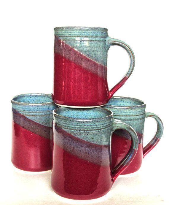 Set of 4 Large Handmade Ceramic Mugs -- Raspberry Red / Twilight blue Pottery Handmade Coffee Tea Cocoa Mug -- Ceramic Handmade Mug