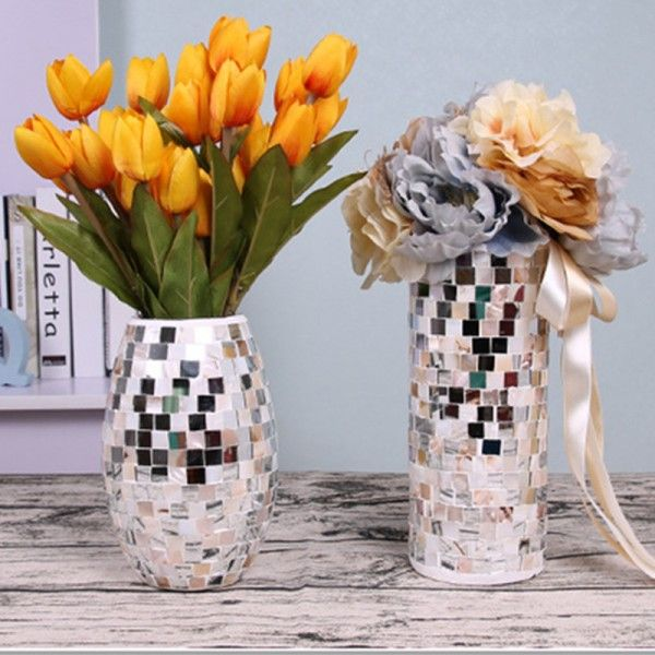 Fashion Mosaic Mirror Glass Vase High Quality Beautiful Vases By