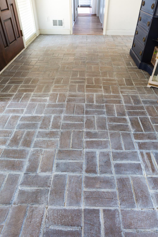 How I Whitewashed A Brick Floor For 14 Brick Flooring White Wash Brick Foyer Flooring
