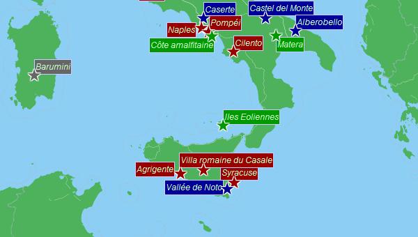 Carte du sud de l'Italie : patrimoine de l'UNESCO | Sicile   Infos