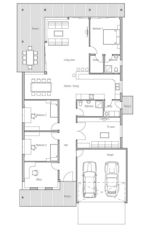 Contemporary Home Ch117 Narrow Lot House Plans Contemporary House Plans House Plans Modern house plan with lots of windows