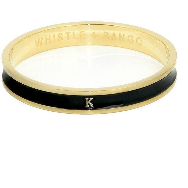 Whistle & Bango - 'K' Alphabet Bangle Black (119 AUD) ❤ liked on Polyvore featuring jewelry, bracelets, engraved jewelry, hinged bangle, stacked bangles, engraved bangle bracelet and hinged bracelet