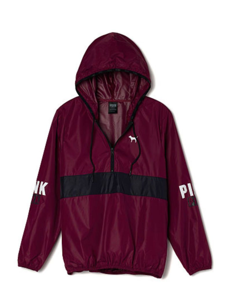 victorias secret pink anorak pullover hoodie windbreaker jacket maroon xs sm new windbreaker. Black Bedroom Furniture Sets. Home Design Ideas