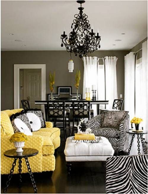 Love These Colors Yellow Black And White Living Room Decor