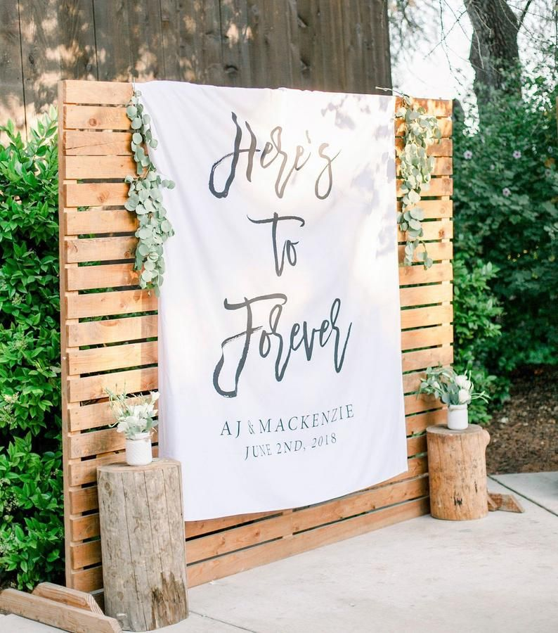 Outdoor Wedding Ceremony Whitby: Here's To Forever Banner, Outdoor Wedding Ceremony