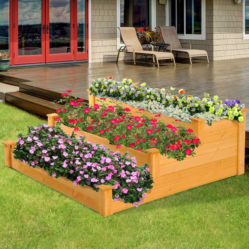 3tier Wooden Garden Bed Elevated Vegetable Flower Raised