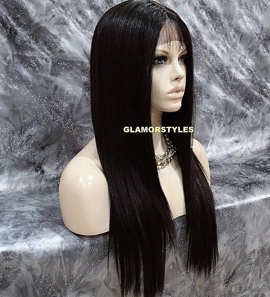 Details about Baby Hair Long Layered Jet Black Full Lace Front Wig Heat Ok Hair Piece #1 NWT
