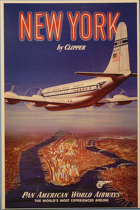 new york by clipper travel posters vintage travel and south africa. Black Bedroom Furniture Sets. Home Design Ideas