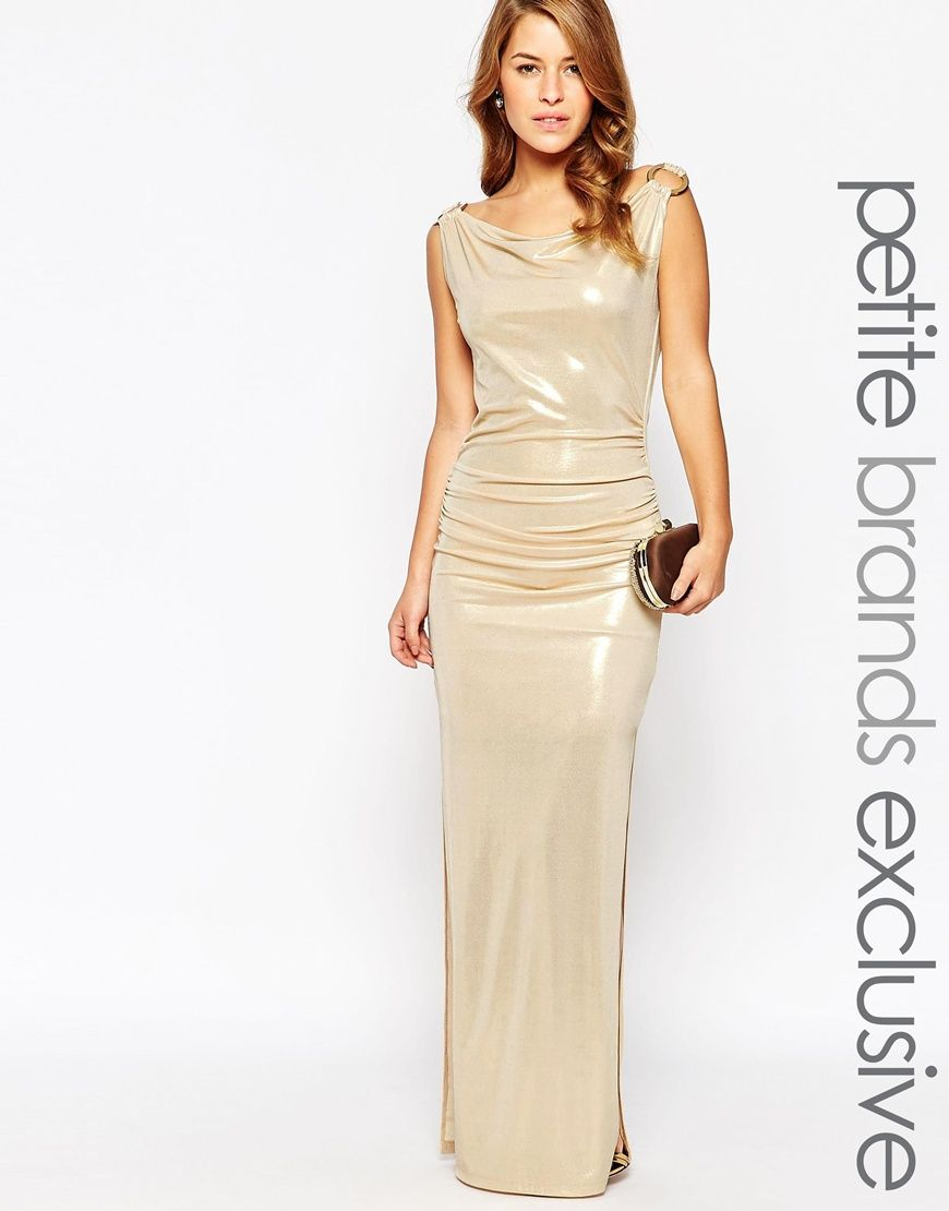 1842b156f15 Image 1 of Lipstick Boutique Petite Gold Metallic Maxi Dress with D Ring  Detail