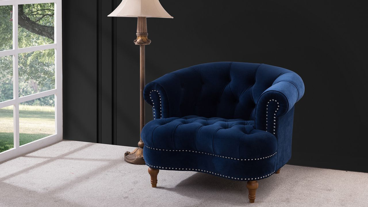 La Rosa Tufted Accent Chair, Navy Blue Tufted accent