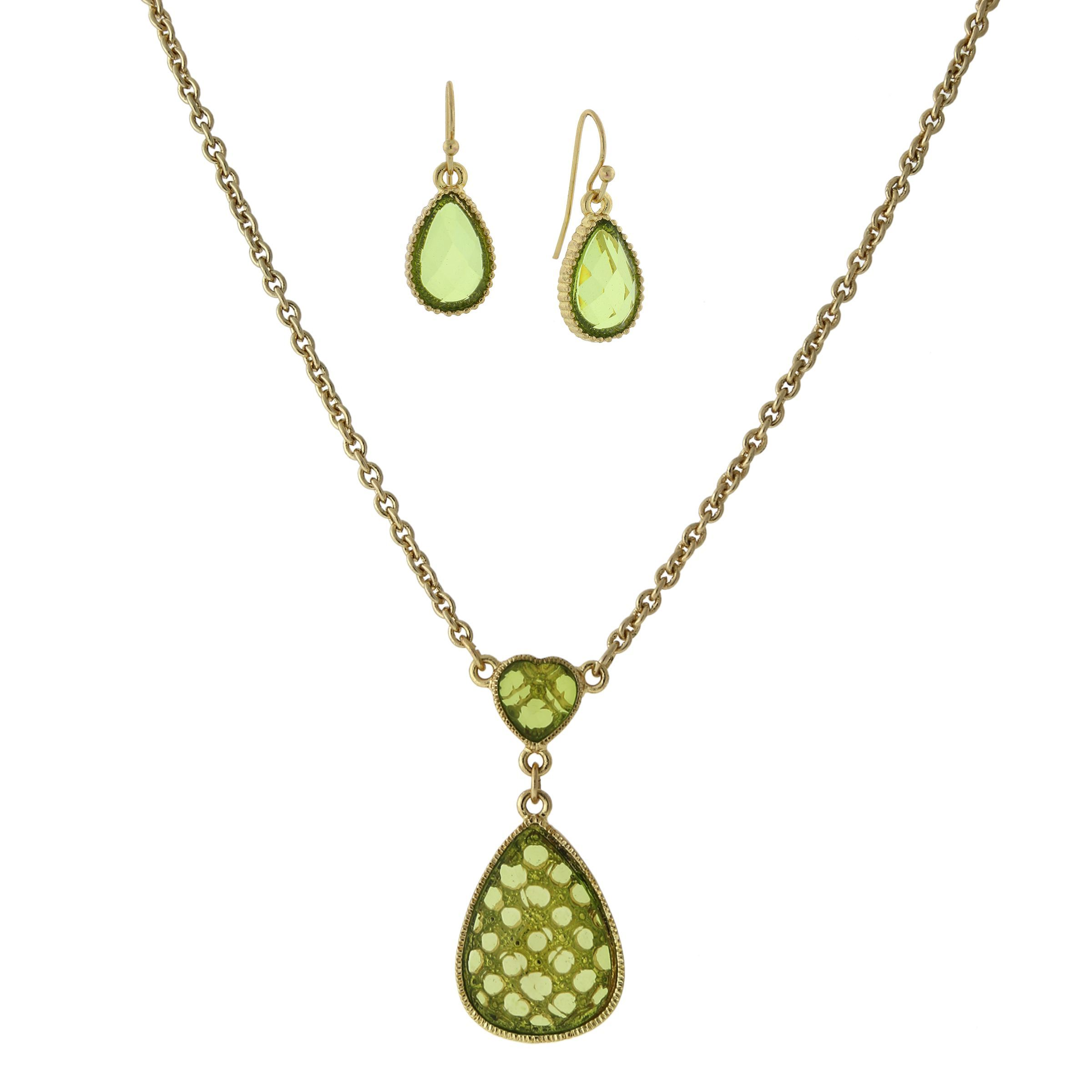jewelry stylish goldtone olivinegreen color heart with