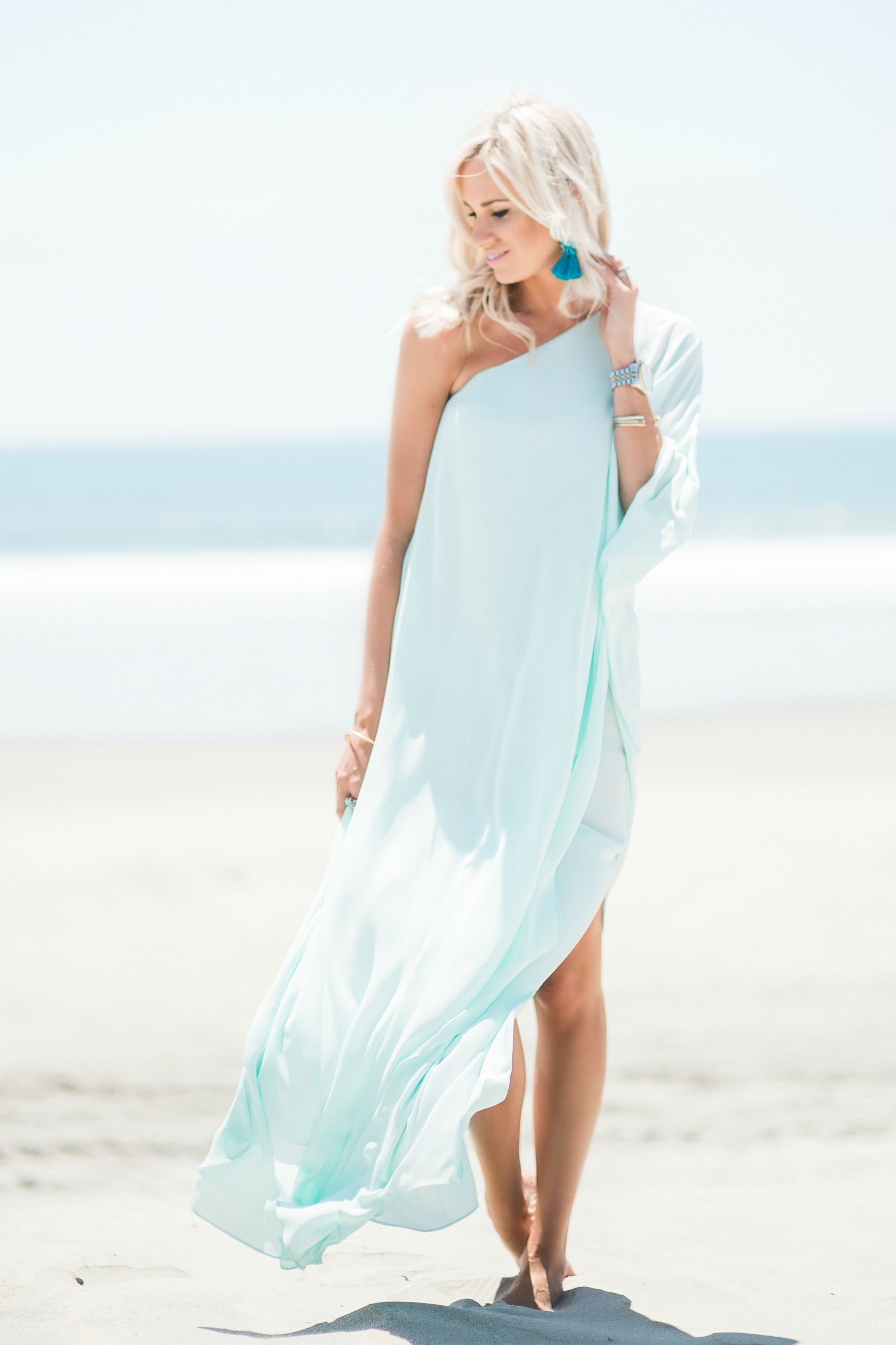 Light Blue Beach Maxi Dress Beach Wedding Guest Dress