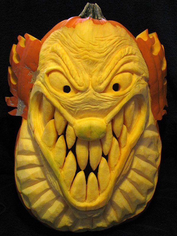 Crazy clown pumpkin carving design halloween diy