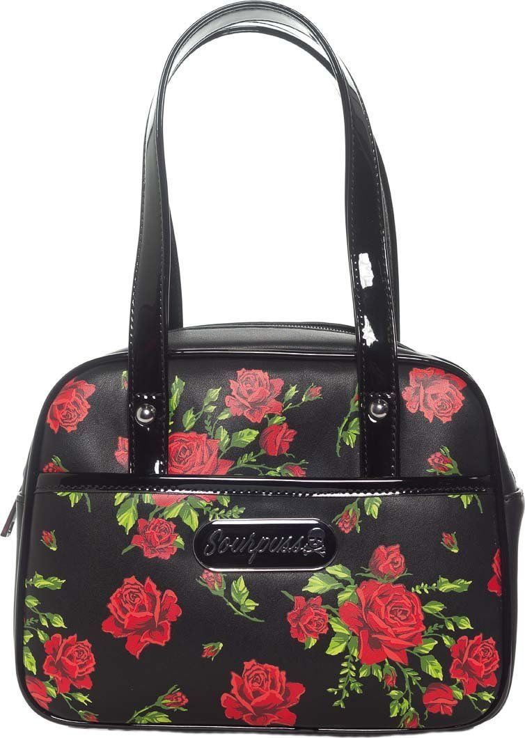 "Rose Garden   MINI BOWLER PURSE is part of Mini Rose garden - Rose Garden   MINI BOWLER PURSE The Rose Garden Mini Bowler Purse by Sourpuss is beyond perfection! Featuring the dreamy artwork of Lekit Im, this purse features a vibrant allover rose print, bronze grommet detail, adjustable strap, ziptop and plenty of room for everything you need to take with you on the daily  only in a cute little package!  Materials Matte vinyl with satin lining SIZE 9 5"" x 7 5"" x 4"" SOURPUSS"