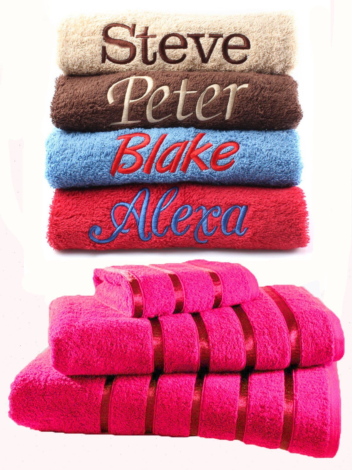 Dream Zone Personalised Embroidered Towels Set Any Name