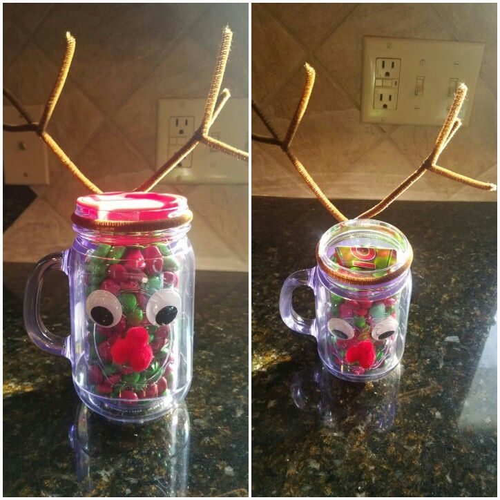 Reindeer Christmas Cup. Cute, Quick and Easy. Just add M&Ms and a Gift Card!