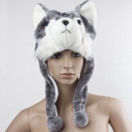 346bbaaad5b Cartoon Animal Style Wolf Hat Cute Fluffy kids Cap Soft Warm Scarf Earmuff  Plush Hat Mascot Huskies Hat