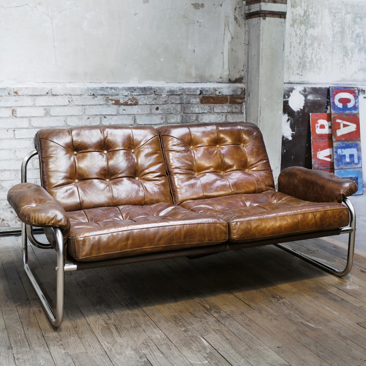 2 Sitzer Vintage Polsterbank Aus Leder Braun Vintage Sofa