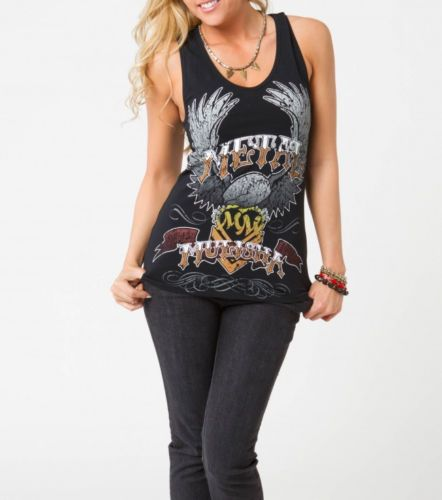 METAL MULISHA MAIDENS AMERICA TANK BLACK RACERBACK SLEEVELESS TOP CUT OUT STARS