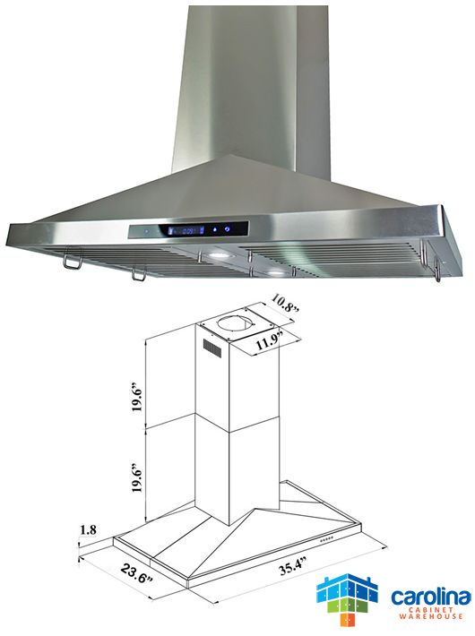 36 Island Range Hood Minimum Required Ceiling Height 8 Feet Chimney Extension No Duct Size Rounded Range Hoods Kitchen Cabinets Prices Best Range Hoods