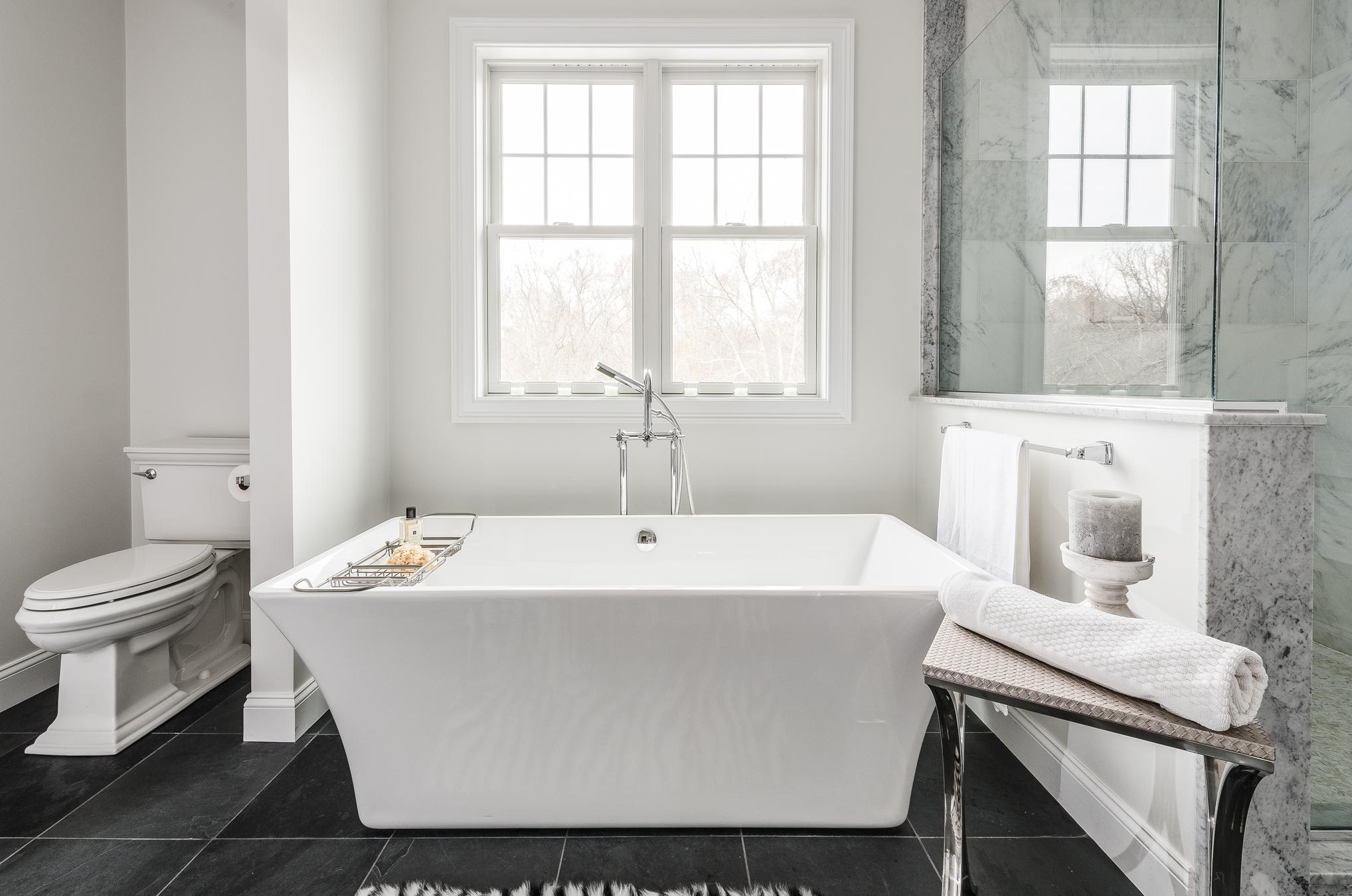 brushed nickel towel bar,Carrara Marble shower floor and niche ...