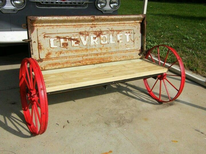 Tail Gate Bench But With Wagon Wheels