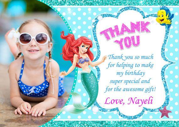 Little Mermaid Gracias Tarjeta Fiesta De Cumpleaños De Ariel