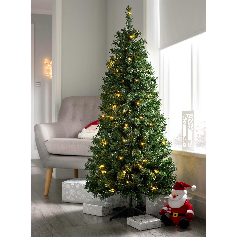 Pre Decorated Highland Flocked Christmas Tree, 50 Warm ...