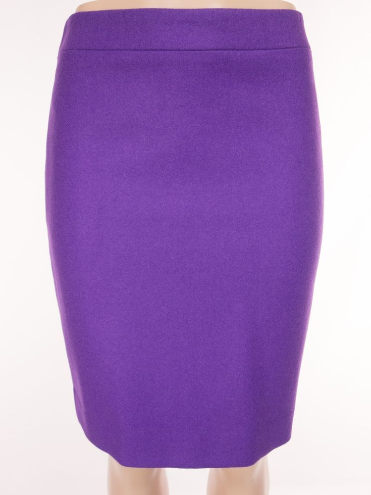 0aa7cef2c2 J CREW Factory The Pencil Skirt 4 S Small Purple Double Serge Wool # 46575  $89 #JCrew #StraightPencil