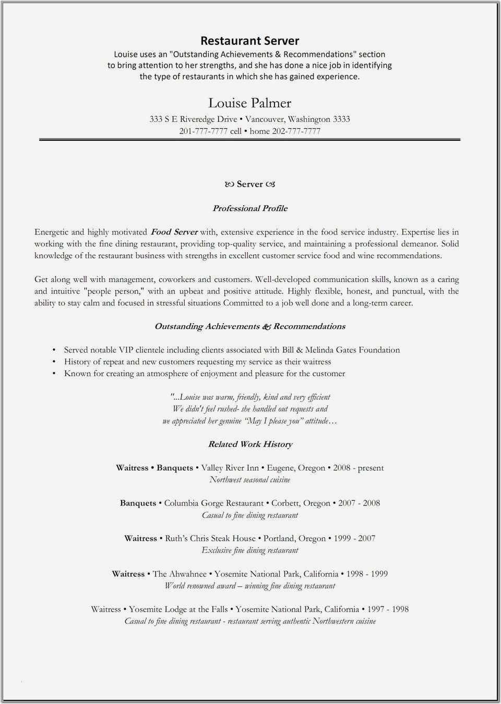 27 Cover Letter For Food Service Server Resume Resume Skills Resume Examples