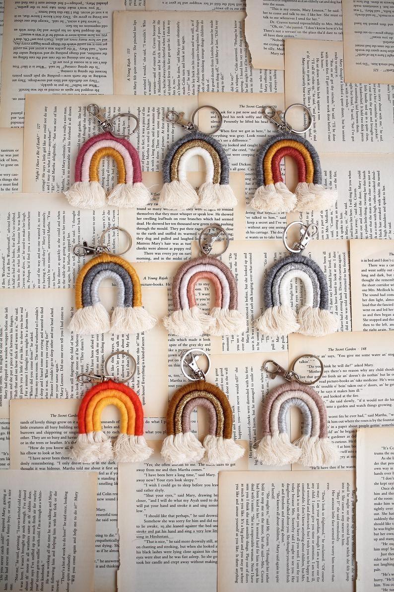 Macram\u00e8 Rainbow Keychain Rainbow Keychain Mini Macram\u00e8 Rainbow Keychain, Mini Rainbow Keychain Rainbow Keyring
