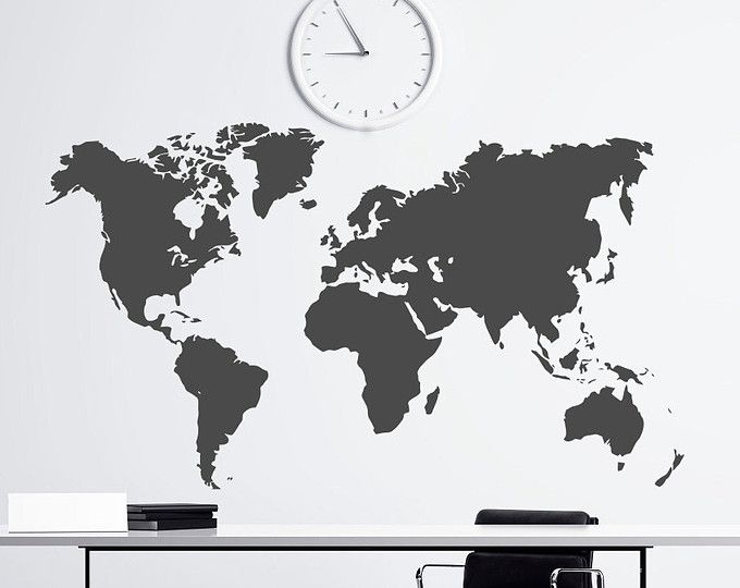 World map outlines wall decal continents decal large world world map wall decal big global vinyl office inspiration room mural decor large gumiabroncs Choice Image
