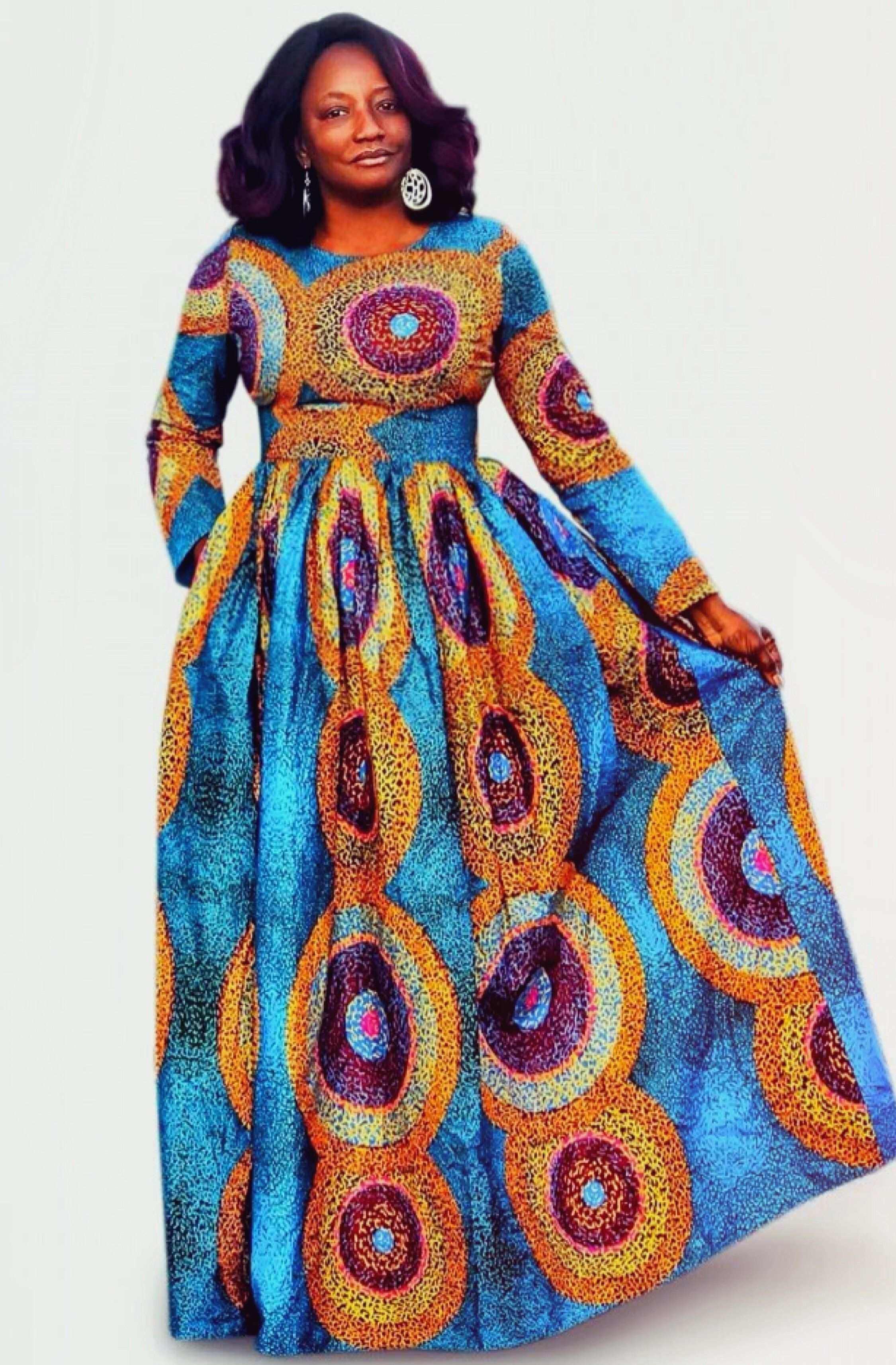 Juju african print long sleeve maxi dress in african fashion