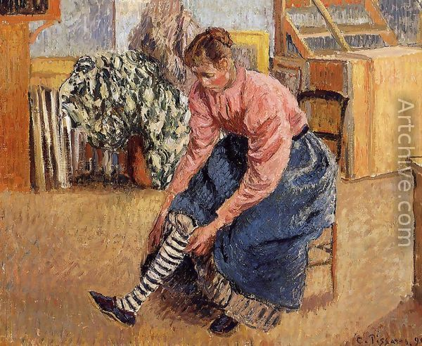 Camille Pissarro's Washing Women | Woman Putting on Her Stockings - Camille Pissarro