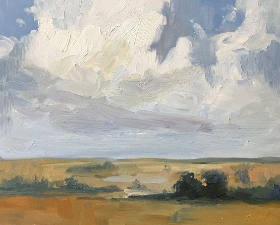 oil landscape painting on wood panel clouds rural landscape oil