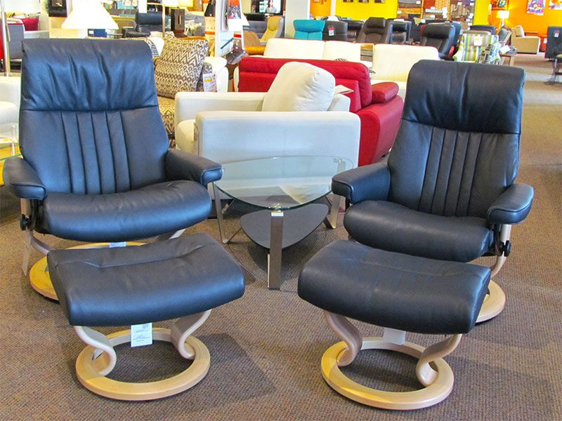 Ekornes Crown recliners in Cori Blue leather and natural