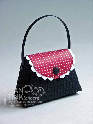 """3/30/2012; Janine Tinkllenberg  at """"Stamps, Paper, Scissors"""" blog using SU products; another lovely little purse and the square lattice embossing folder"""