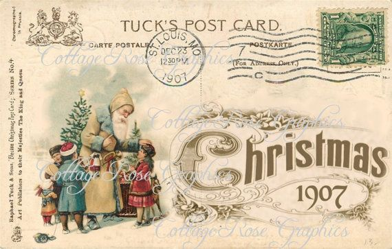 Vintage 1907 Christmas-3 POSTCARD collage by CottageRoseGraphics