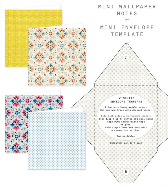 Free Printable Mini Wallpaper Notes + Envelope Template Digital - Loose Leaf Paper Print