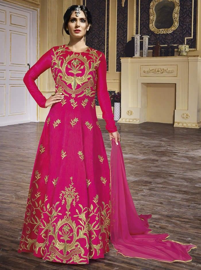 Rani Colour Mandori Silk Designer and Party Wear Long Suit ...