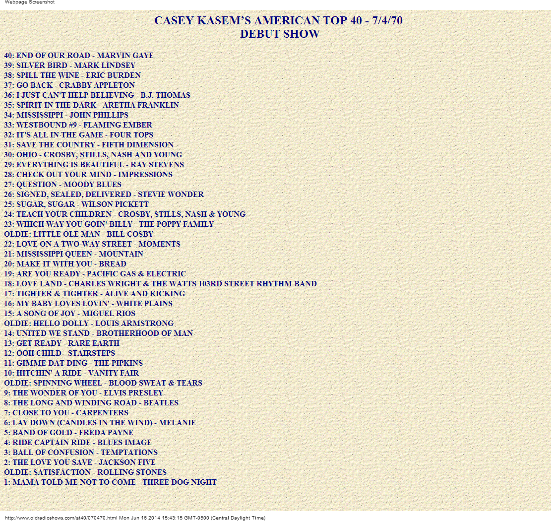 Casey Kasem's very first American Top 40 list, from July 4, 1970